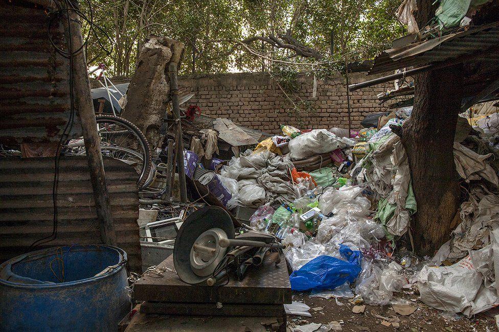Piles of plastic at the scrapyard