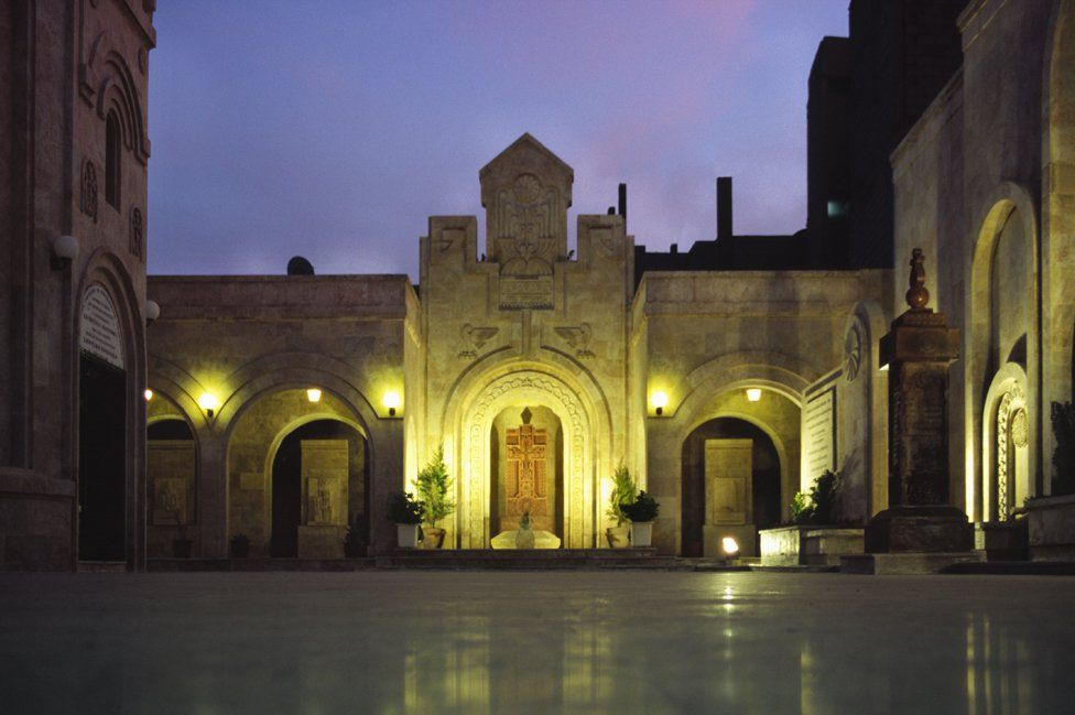 Courtyard of the church of the Armenia Martyr in Syria
