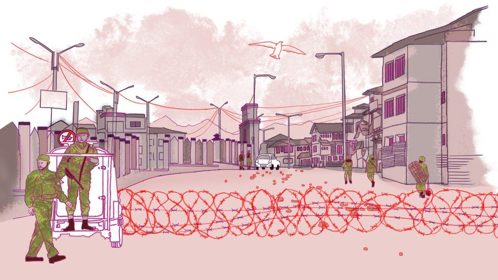 An illustration of a street with barbed wire across it