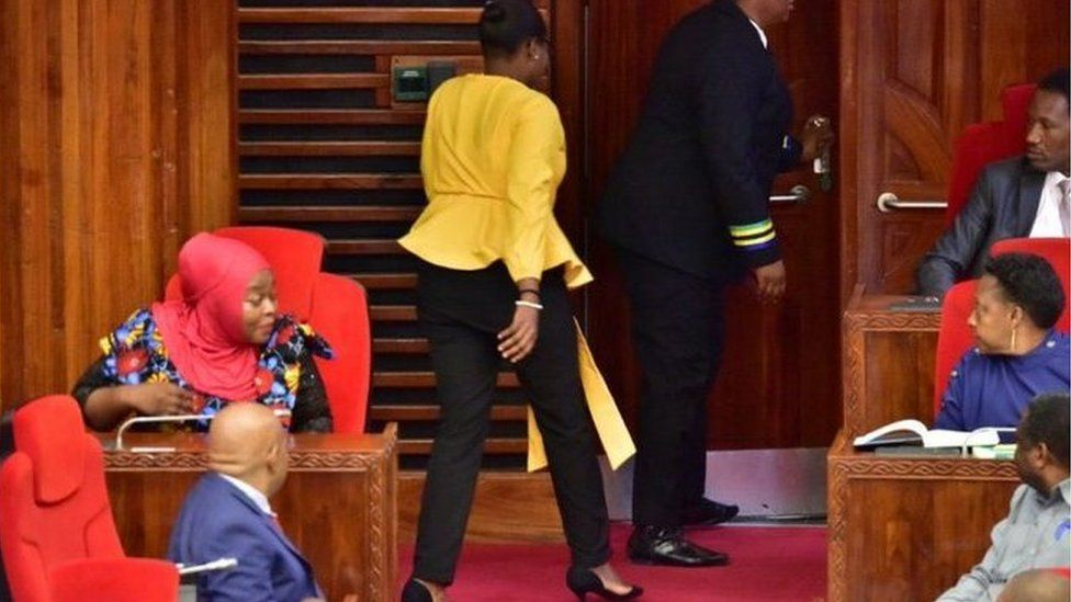 Woman legislator thrown out of parliament because of 'tight' trousers