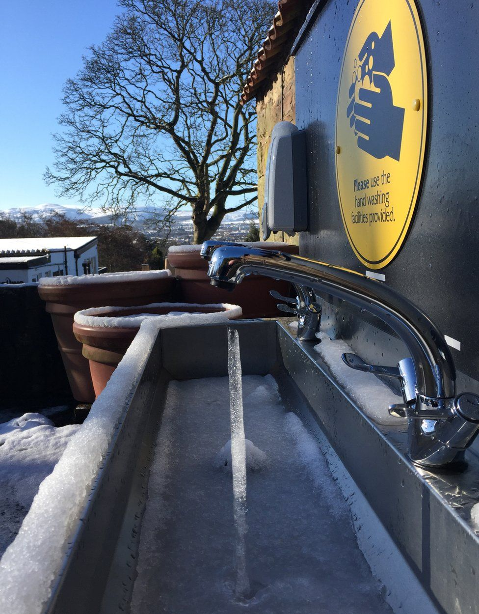 Frozen tap at Edinburgh Zoo