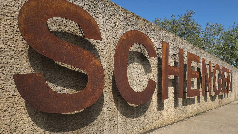 The rusting Schengen sign at the dock where the 1985 European Schengen Agreement was signed on May 11, 2016 in Schengen, Luxembourg