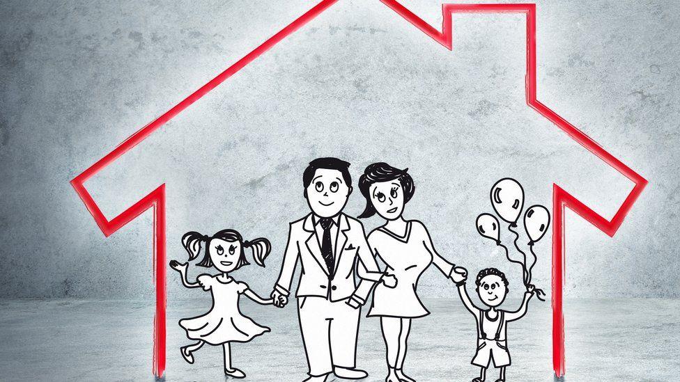 house with cartoon family