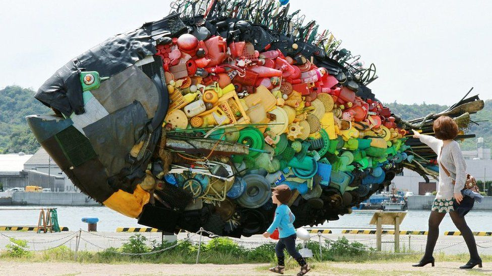 A fish sculpture made from plastic