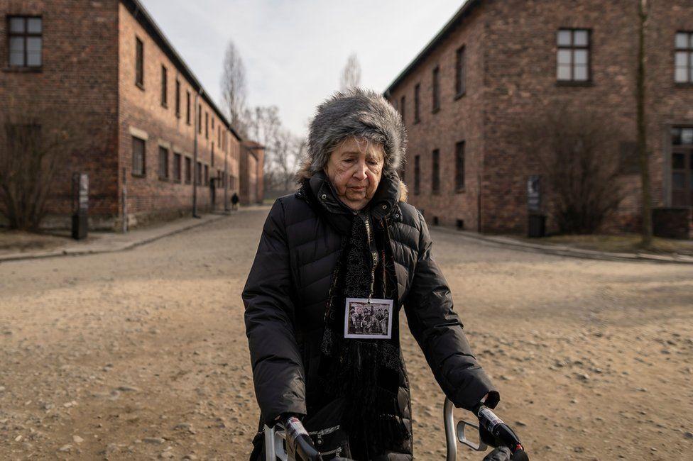 Holocaust survivor Miriam Ziegler visits the site of the former German Nazi death camp Auschwitz