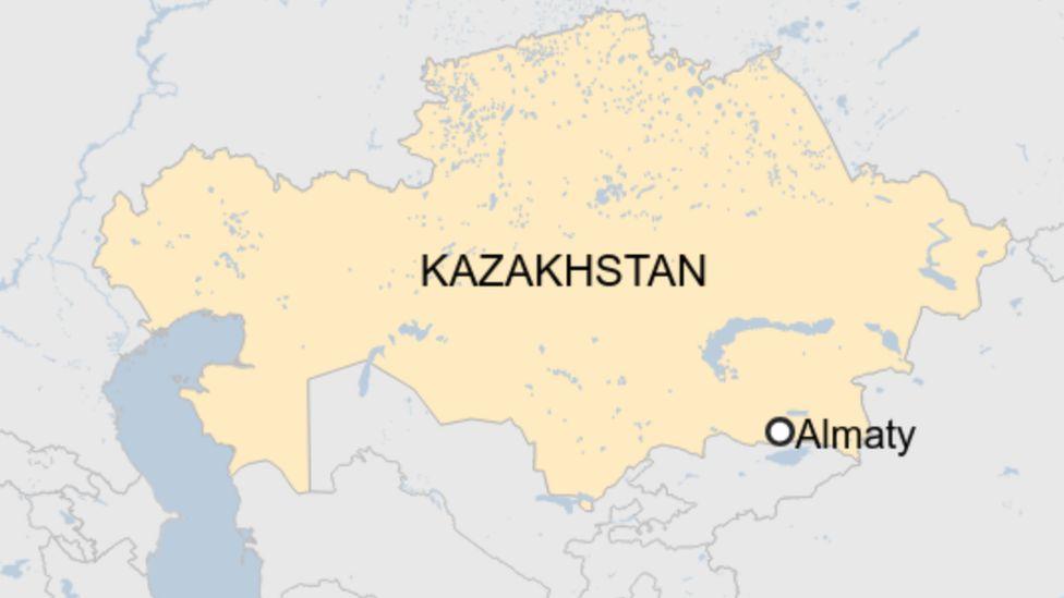 A map showing Almaty in Kazakhstan