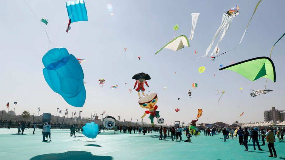A scene from this year's international kite festival in Gujarat