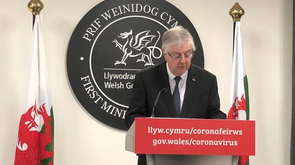 Mark Drakeford at today's press conference