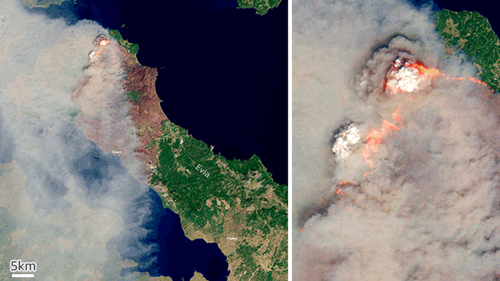 Satellite images of wildfires in Evia, Greece