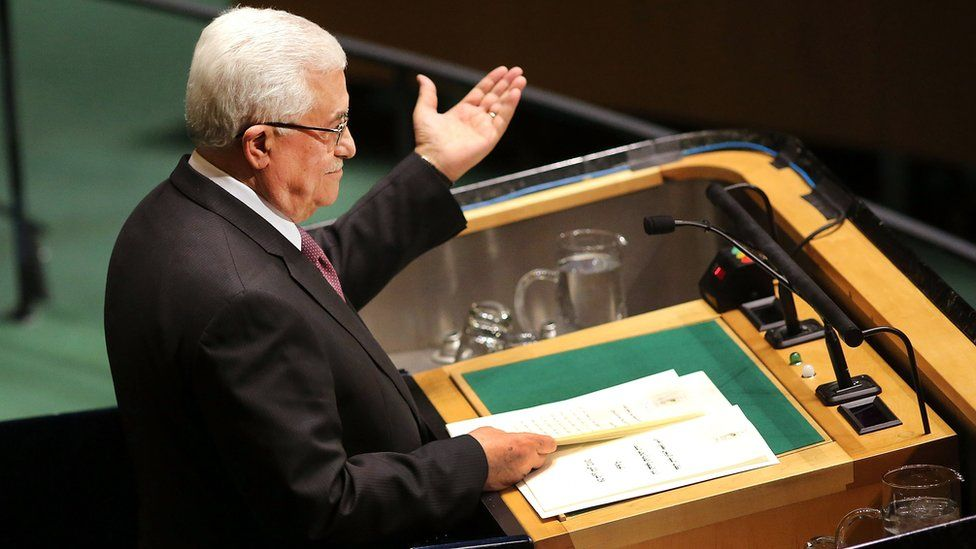 Palestinian Authority President Mahmoud Abbas addresses the General Assembly at the United Nations on 29 November 2012 in New York City.