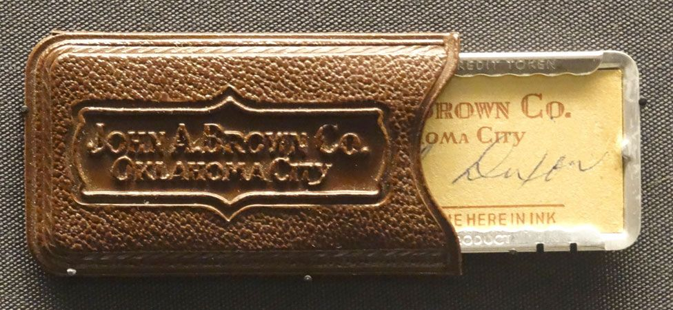 """A John A. Brown Company """"charga-plate"""" and case from Oklahoma City in the 1950s"""