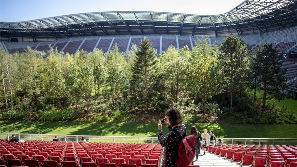 Austrian football stadium hosts forest as dystopian vision