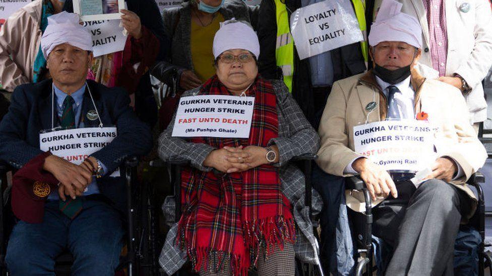 Three Gurkha veterans on hunger strike outside Downing Street