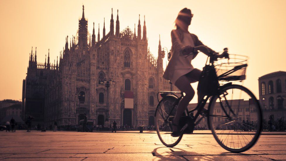 Cycling in Milan, Italy