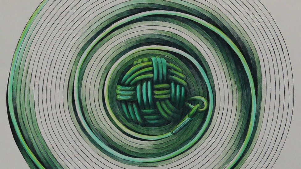 Illustration of a coiled heaving line