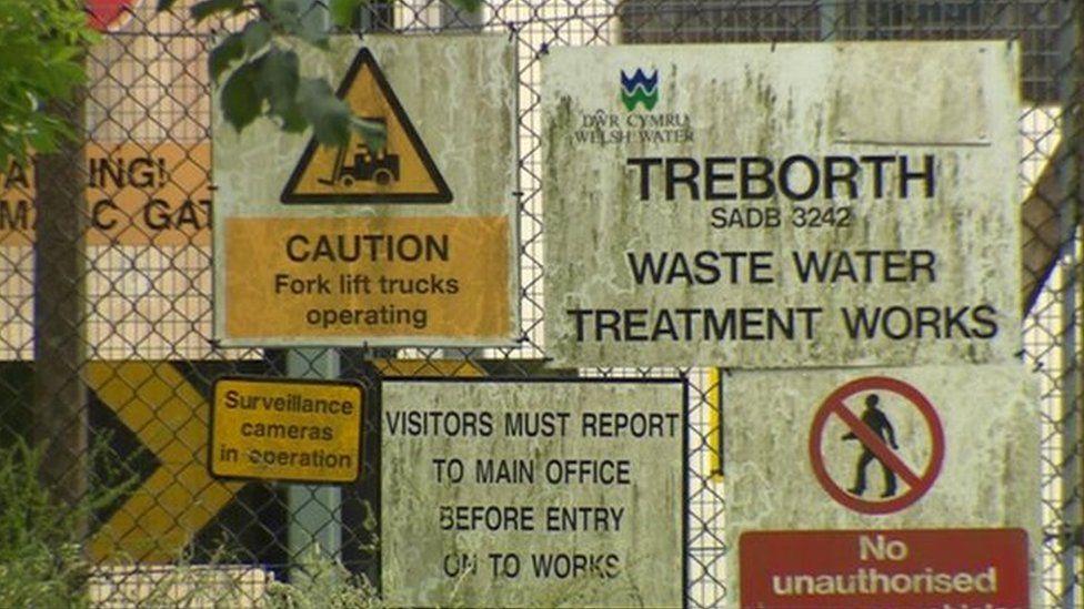 Treborth waste water plant warning signs