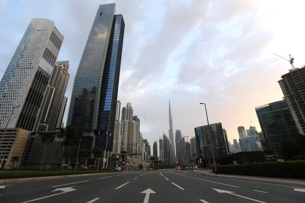File photo of empty road in Dubai's Business Bay area (28 March 2020)