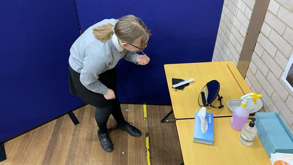 pupil undertaking a Covid test