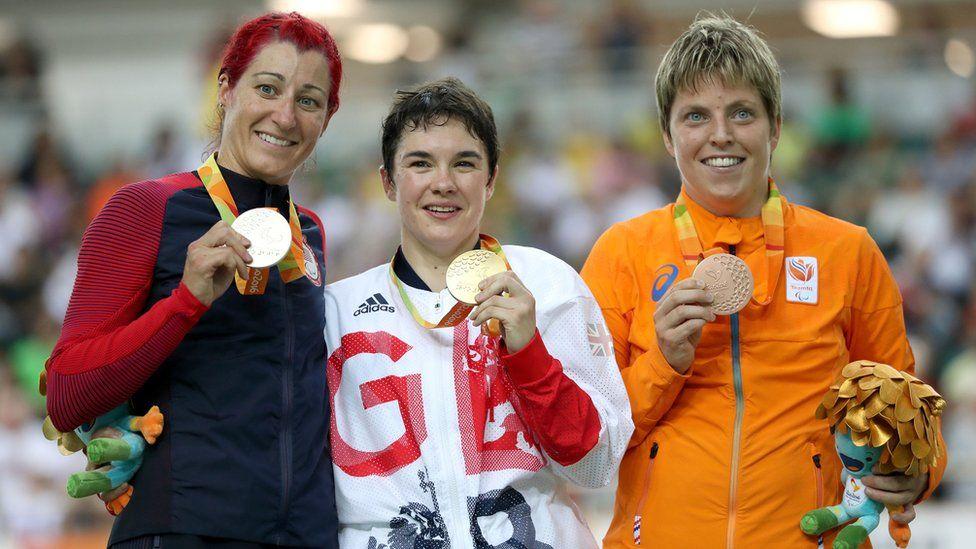 Giglia with silver medallist Jamie Whitmore and bronze medallist Alyda Norbruis