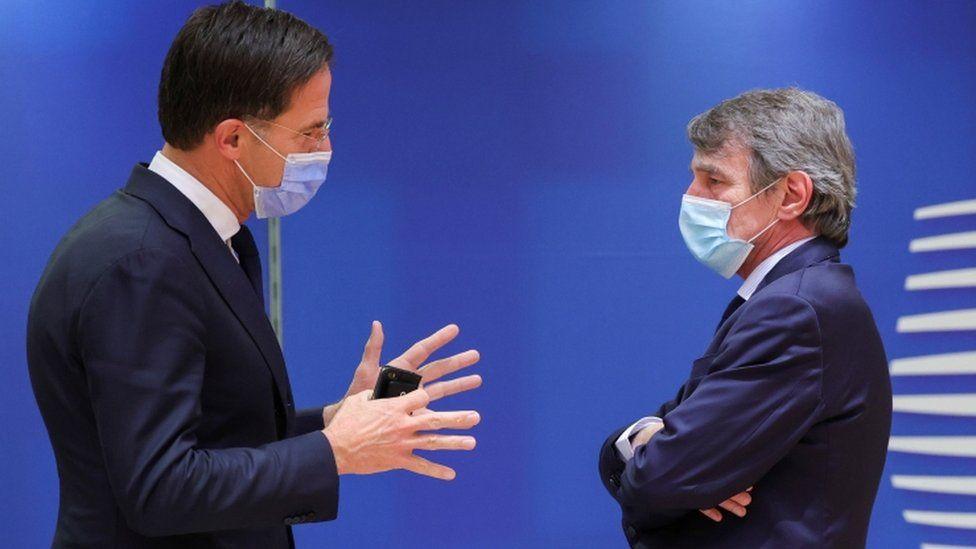 Dutch Prime Minister Mark Rutte speaks with European Parliament President David-Maria Sassoli