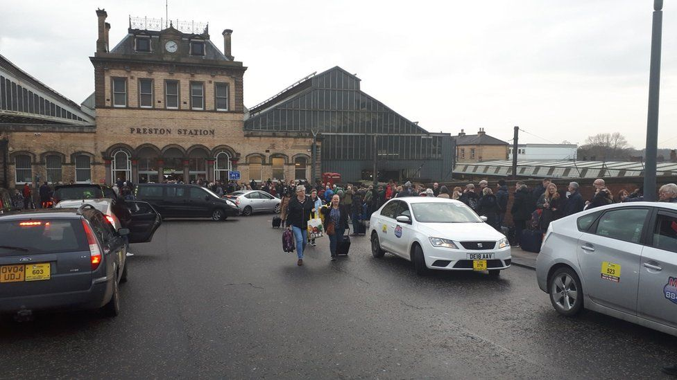 Queues at Preston Railway Station