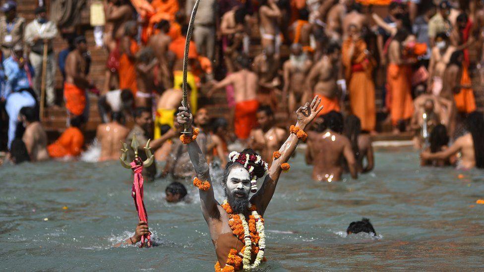 Naga sadhhus at Kumbh Mela in Haridwar in April 2021