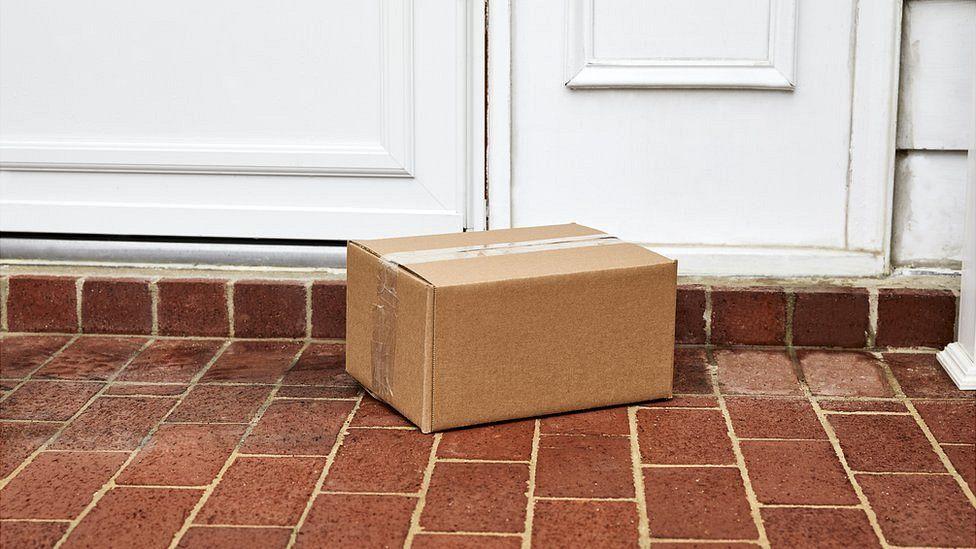 Parcel on doorstop