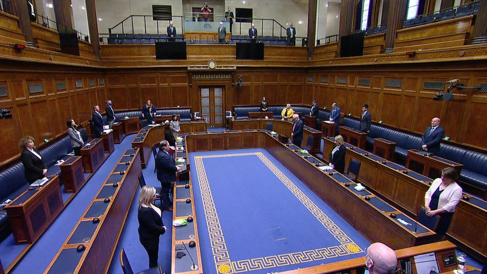 Proceedings at the NI Assembly were paused so MLAs could take part in the minute's silence