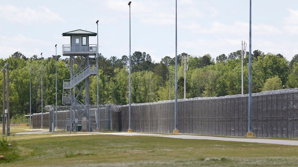 A guard tower at the Lee Correctional Institution in Bishopville, South Carolina, 16 April, 2018