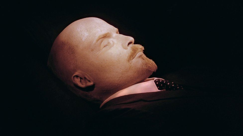 The embalmed body of Lenin photographed in 1991