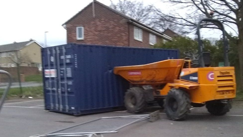 Dumper truck crashed into container