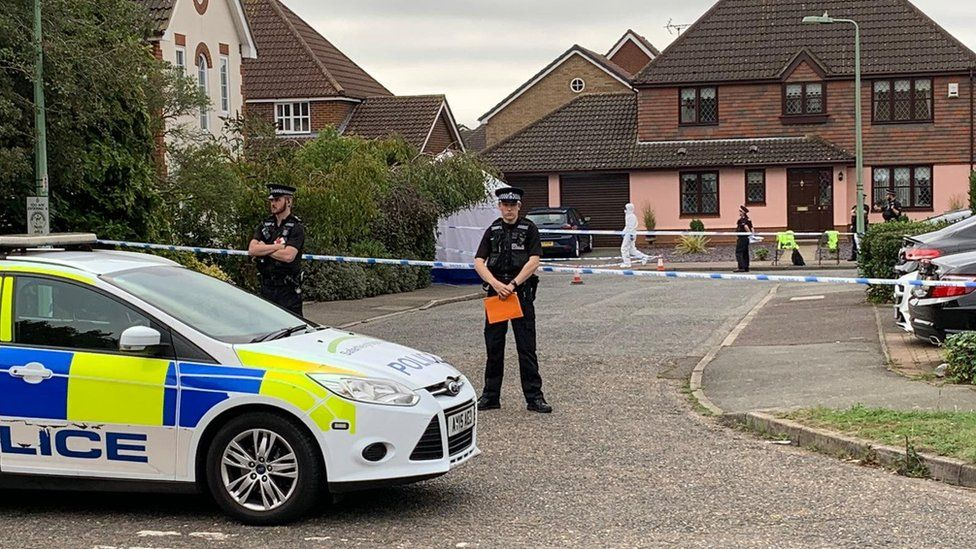 Police at the scene in Grange Farm, Kesgrave