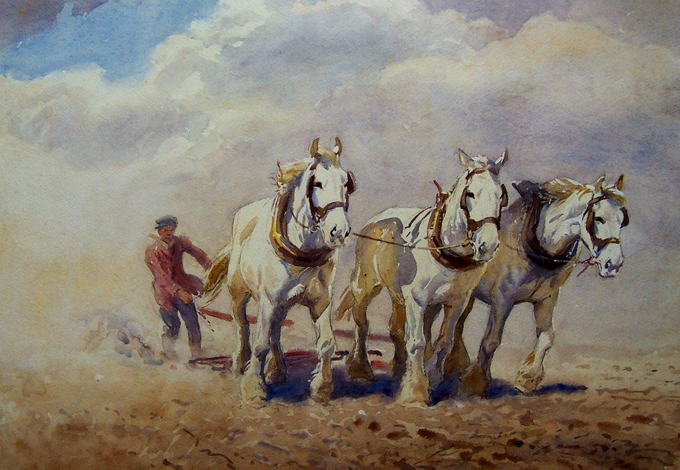 Harrowing - water colour of The Working Horse by George Soper
