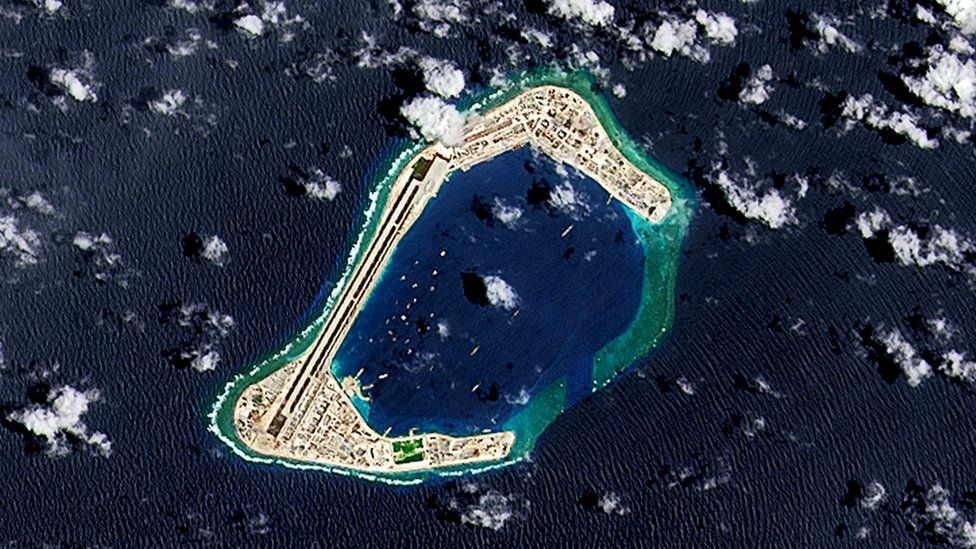 A satellite image of Subi Reef, an artificial island being developed by China in the Spratly Islands in the South China Sea