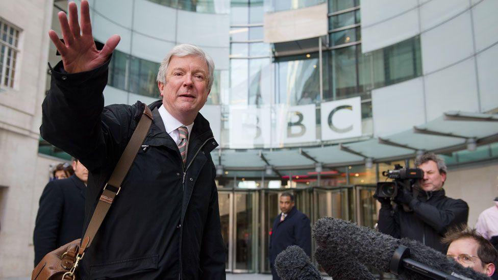 Tony Hall outside the BBC's London HQ