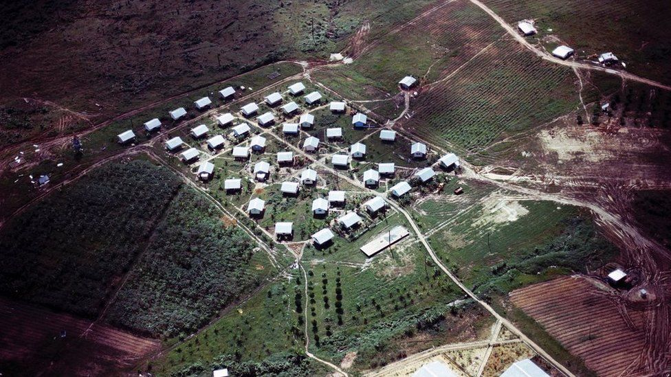 An aerial view of the compound