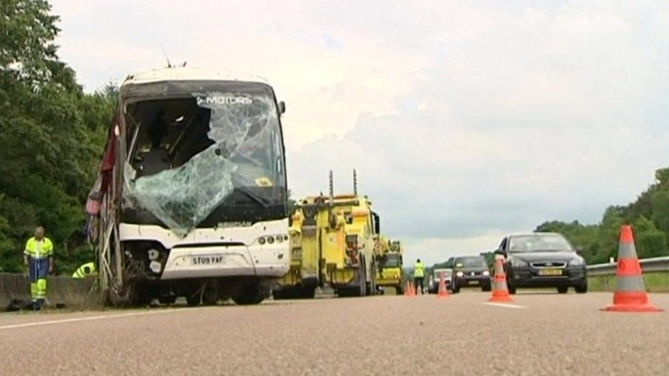 The crashed coach in France