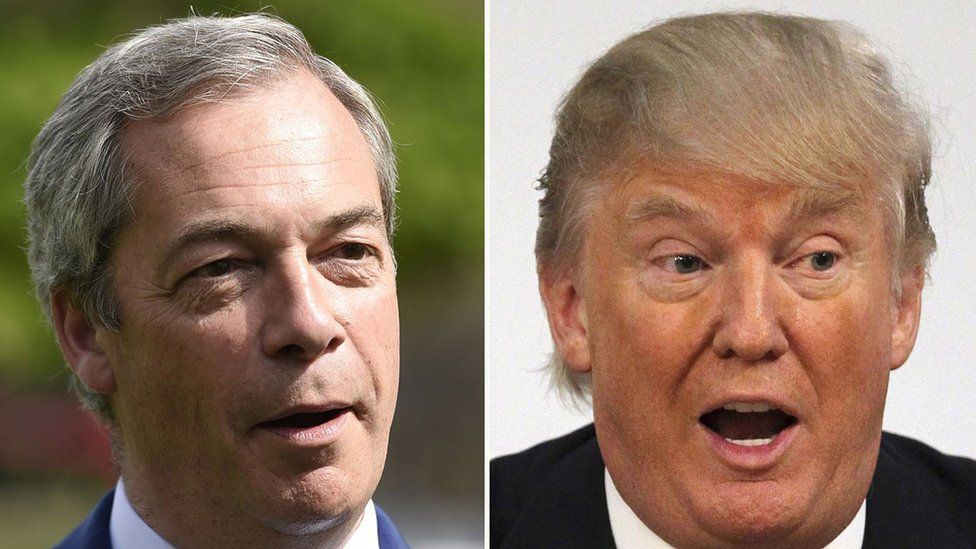 Nigel Farage (left) and Donald Trump