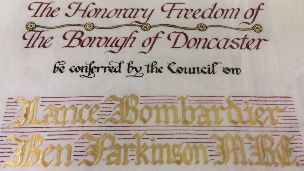 Certificate for the freedom of the borough