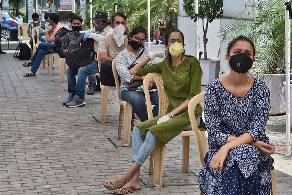 Journalists waiting for tests in Mumbai