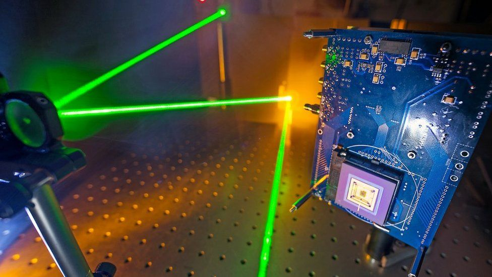 Laser light being reflected