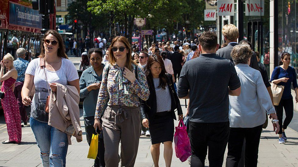 Shoppers on a UK high street