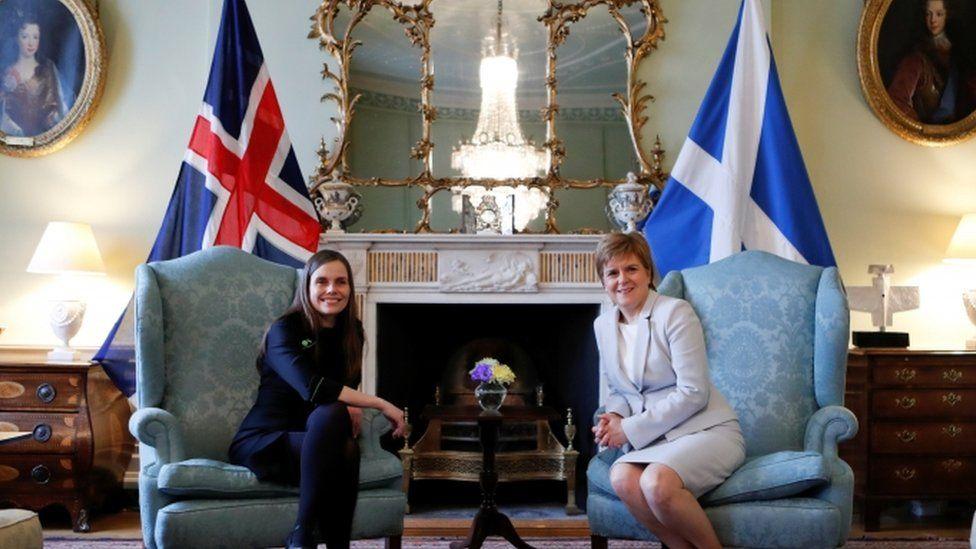 Katrín Jakobsdóttir sat down with the first minister at Ms Sturgeon's Bute House residence in Edinburgh.