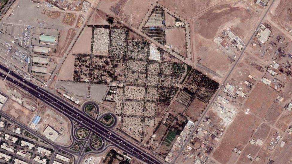 Satellite image showing Khavaran cemetery in south-eastern Tehran, Iran