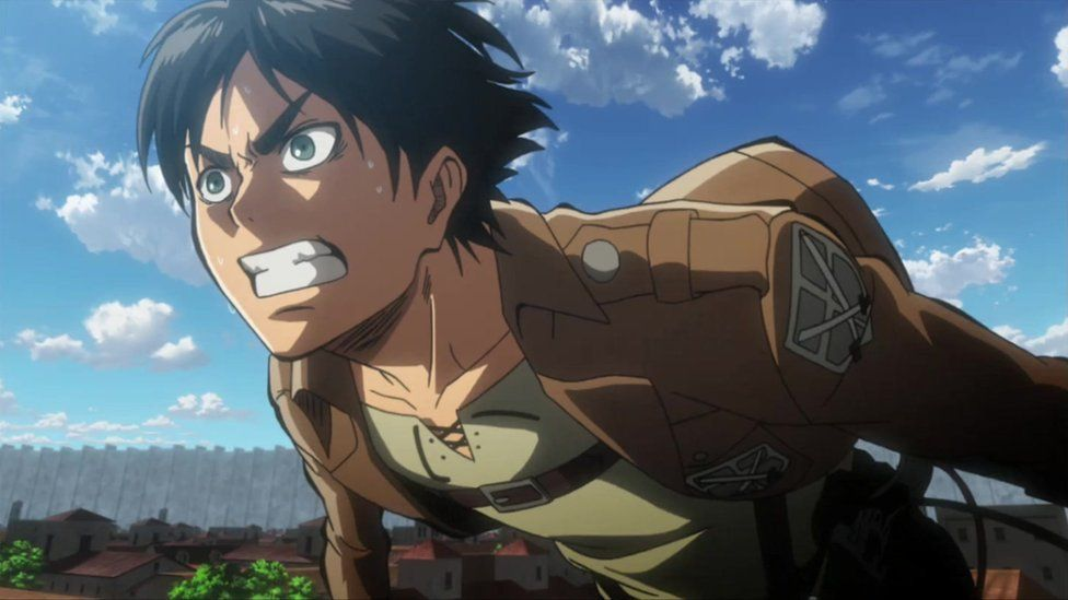 Lead character Eren runs across a roof