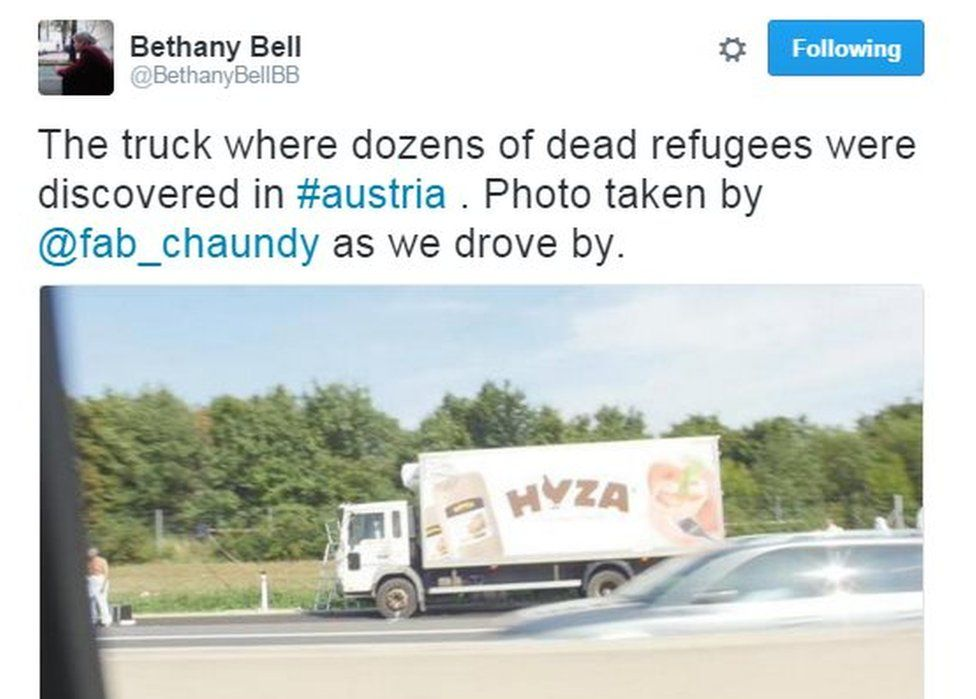 Bethany Bell tweeted from Parndorf on the day the disaster emerged