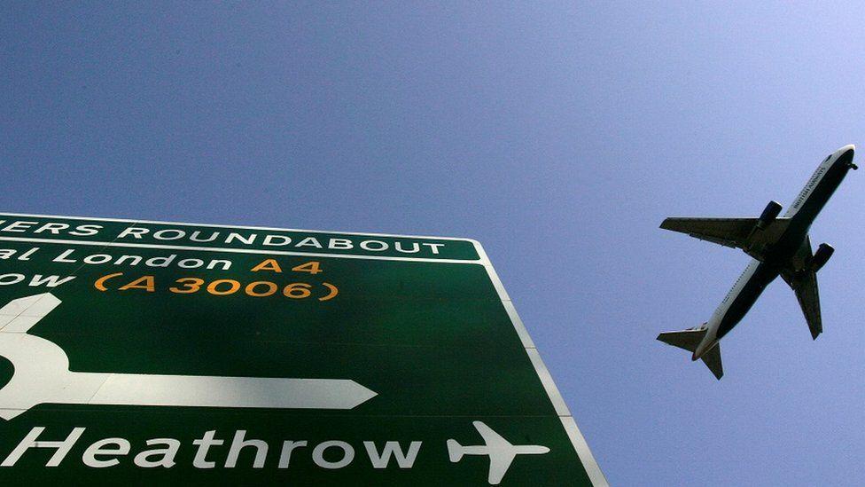 Heathrow sign and plane