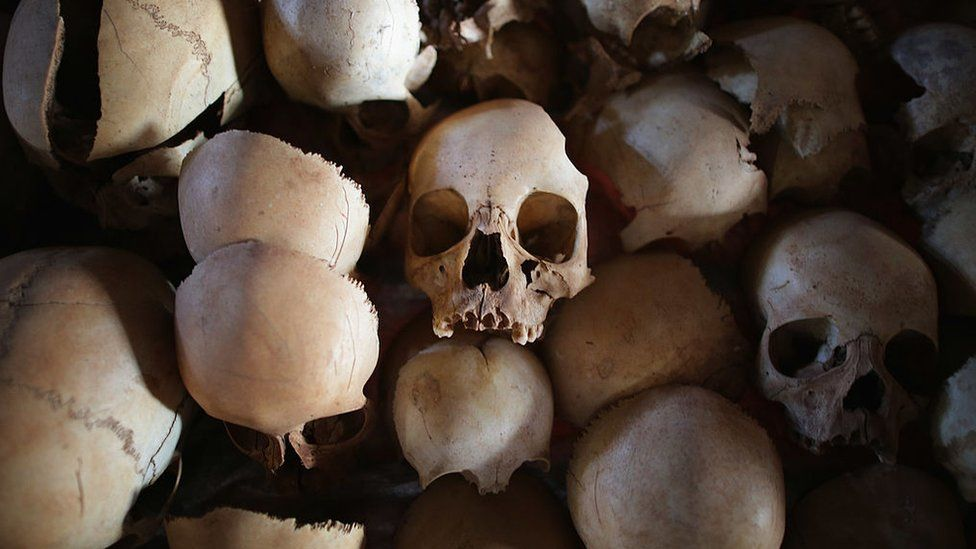 Showing signs of extreme trauma, victims' skulls are displayed on metal racks inside the Ntarama Catholic Church genocide memorial ahead of the 20th anniversary of the country's genocide April 4, 2014 in Nyamata, Rwanda