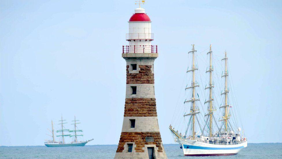 Tall ships off Roker Pier