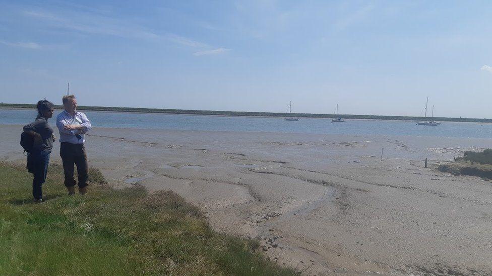 Standing on the shoreline in Paglesham, Essex